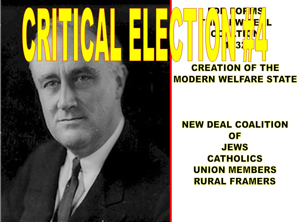 CRITICAL ELECTION #4 FDR FORMS. THE NEW DEAL. COALTION. 1932. CREATION OF THE. MODERN WELFARE STATE.