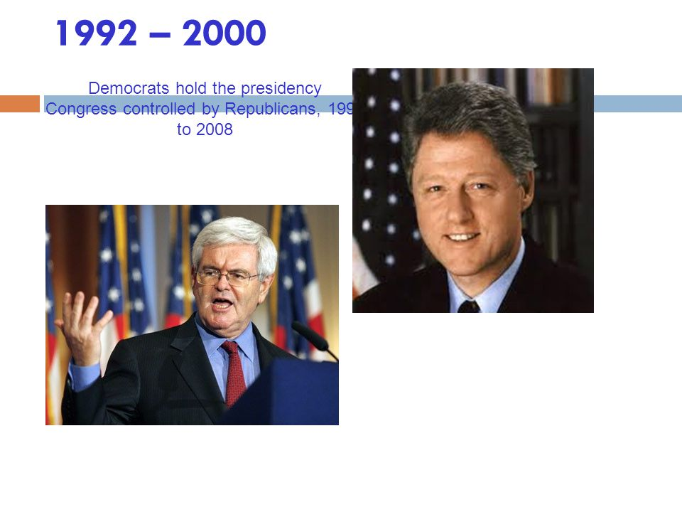 1992 – 2000 Democrats hold the presidency