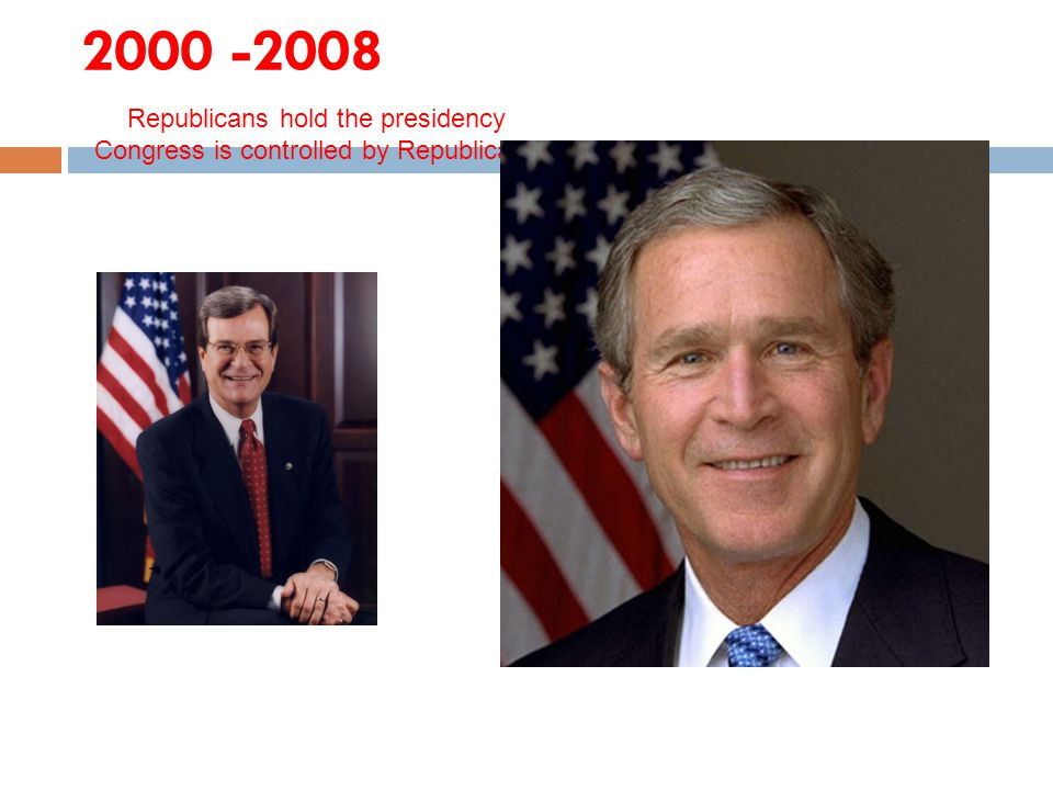 2000 -2008 Republicans hold the presidency