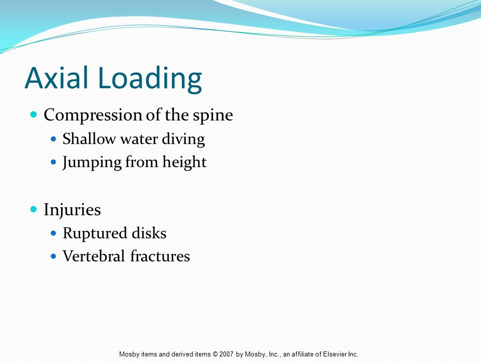 Axial Loading Compression of the spine Injuries Shallow water diving