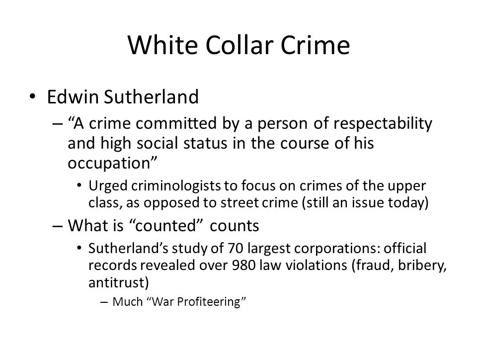 White Collar Crime Edwin Sutherland