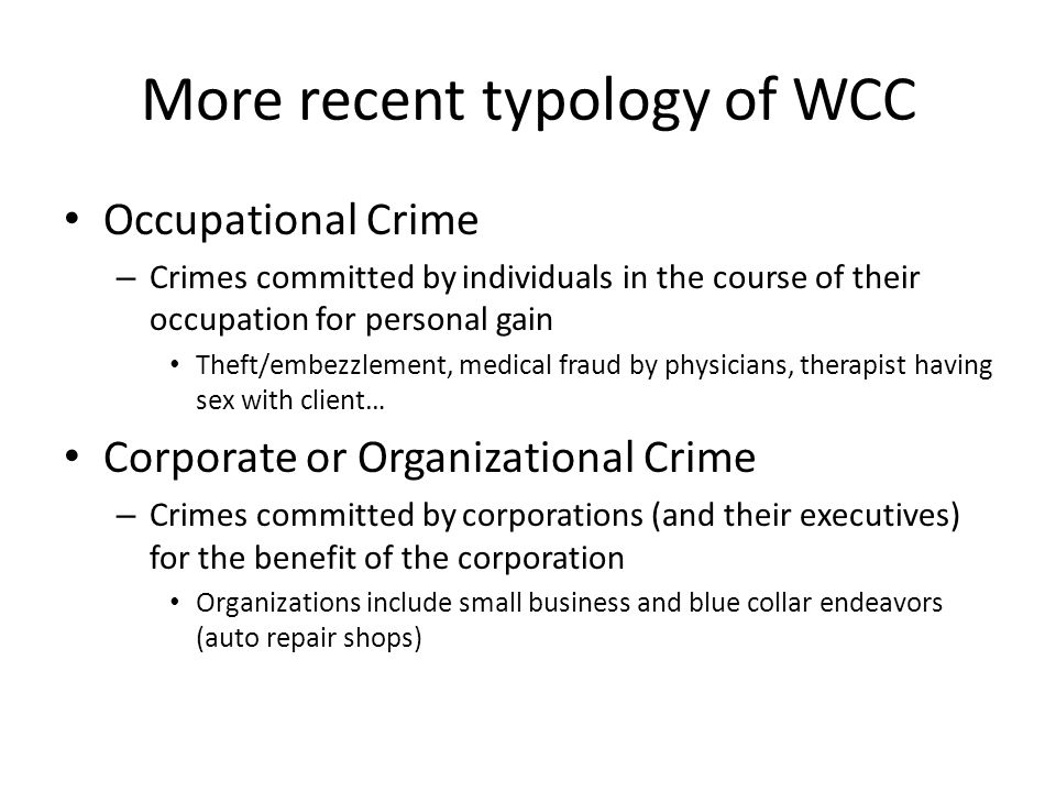 More recent typology of WCC