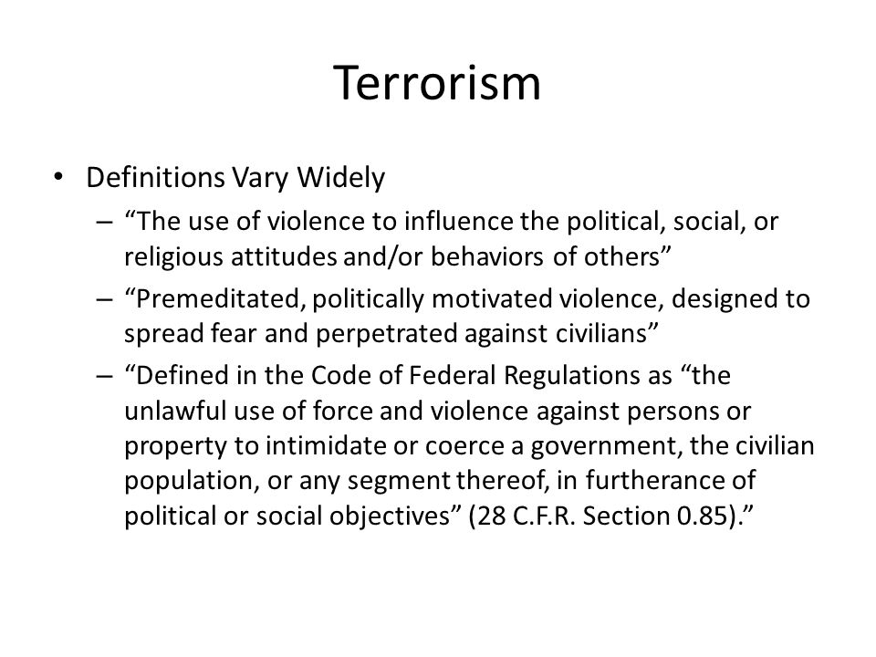 Terrorism Definitions Vary Widely