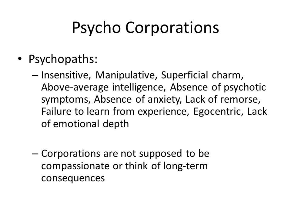 Psycho Corporations Psychopaths: