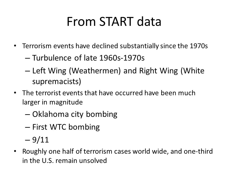 From START data Turbulence of late 1960s-1970s