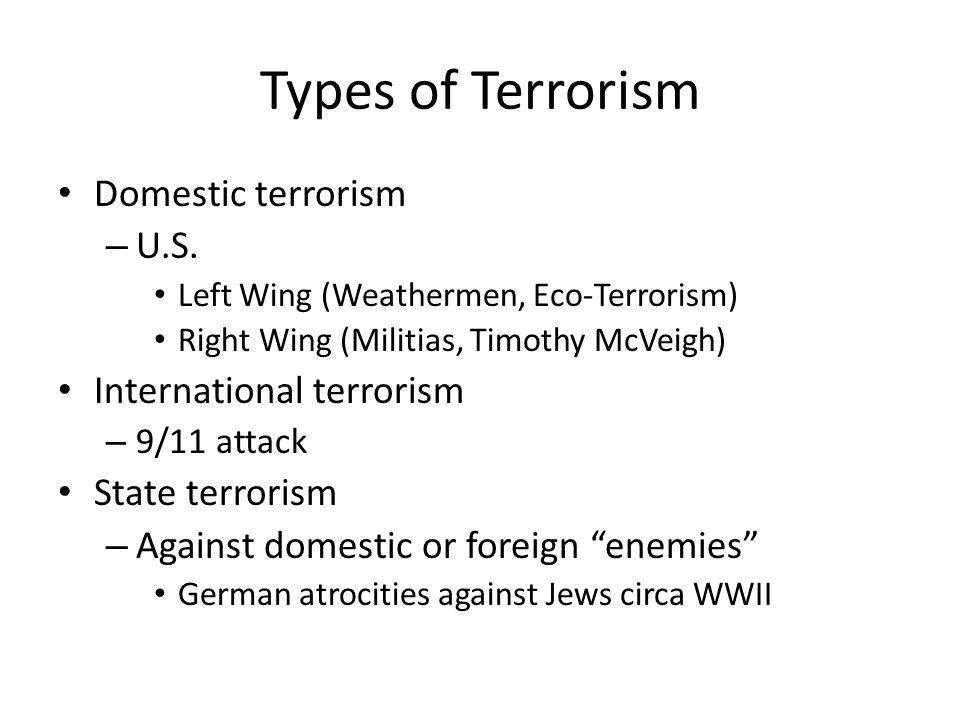 Types of Terrorism Domestic terrorism U.S. International terrorism
