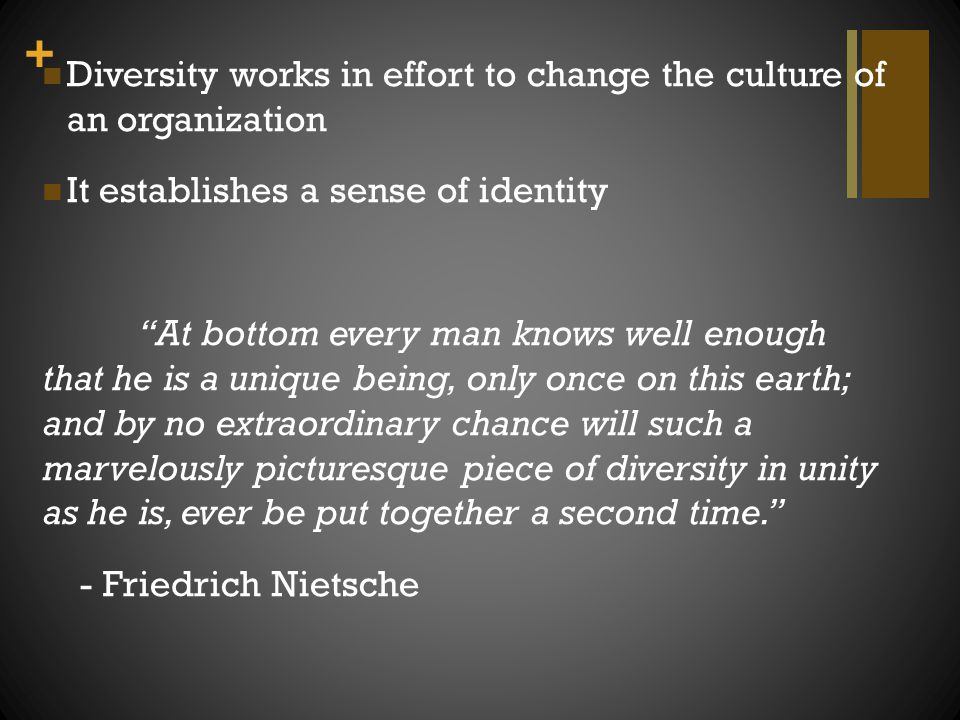 Diversity works in effort to change the culture of an organization