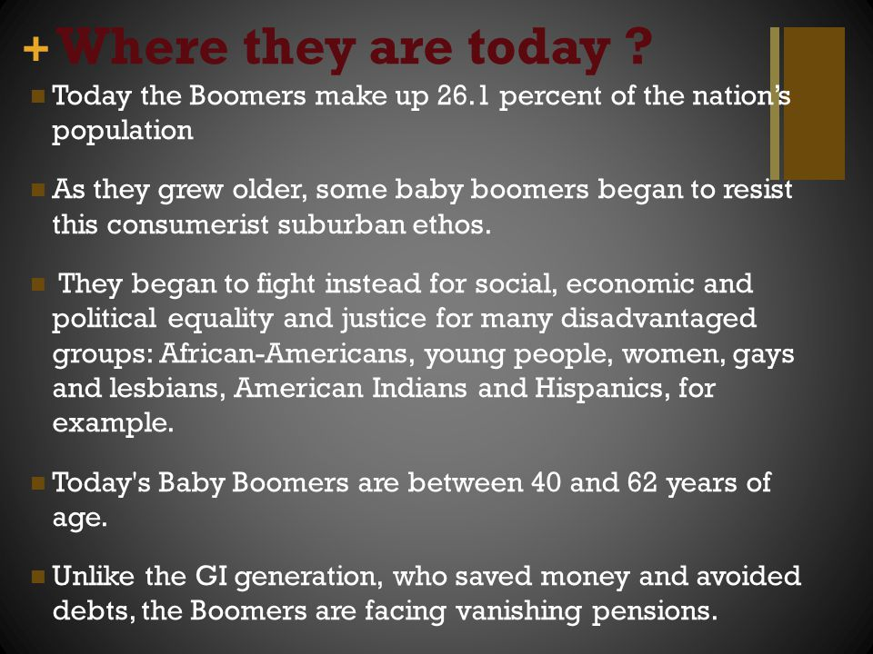 Where they are today Today the Boomers make up 26.1 percent of the nation's population.