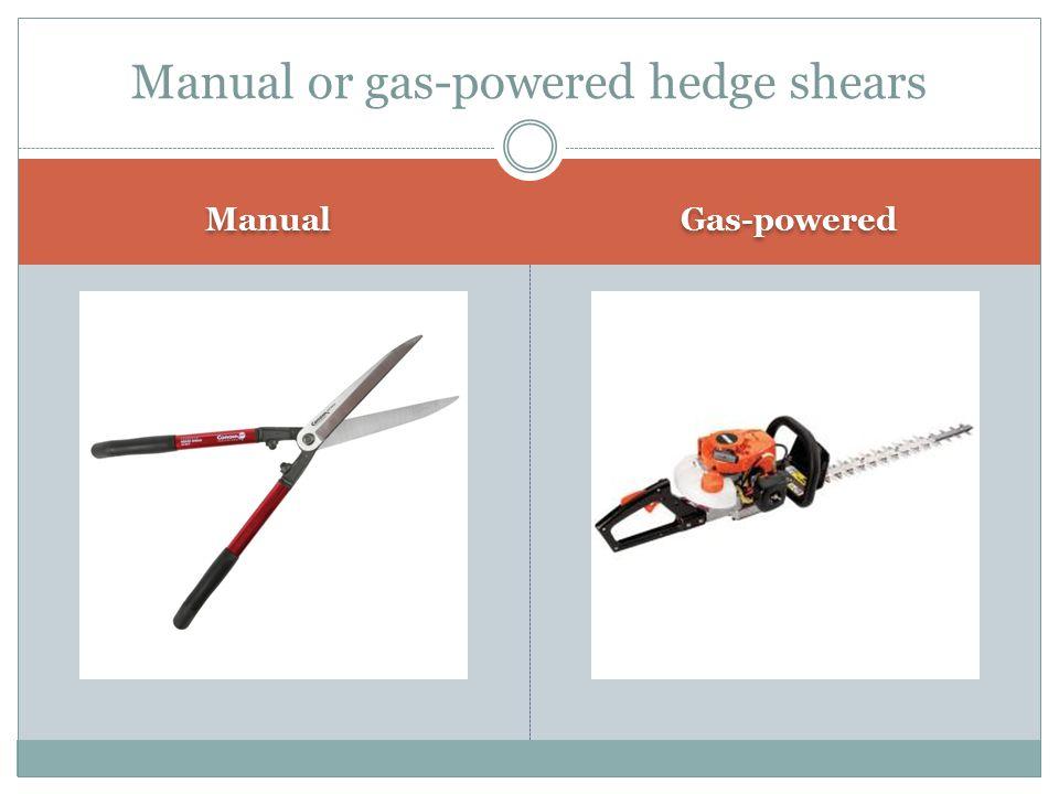 Manual or gas-powered hedge shears