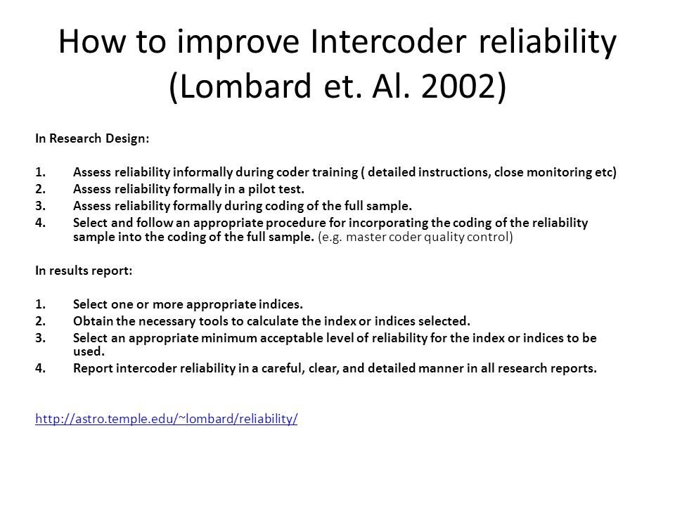 How to improve Intercoder reliability (Lombard et. Al. 2002)