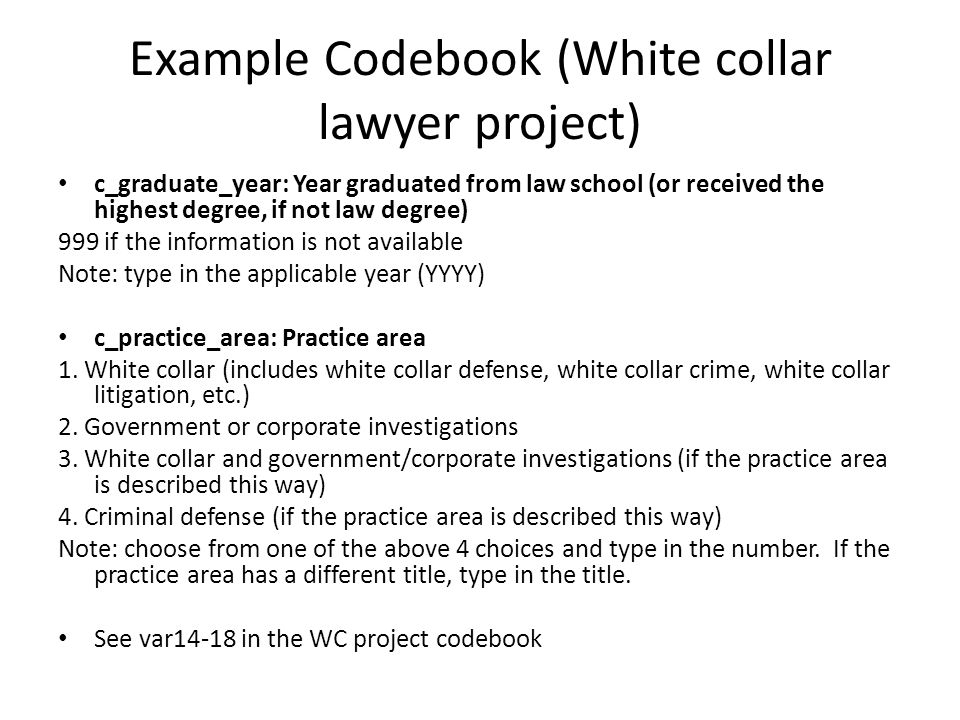 Example Codebook (White collar lawyer project)