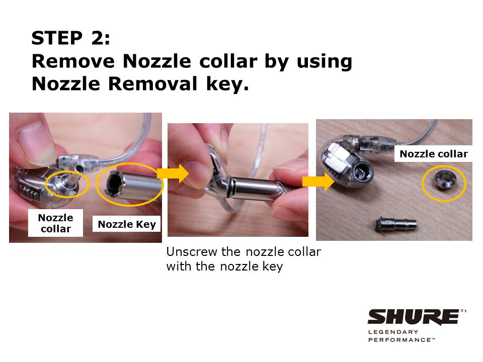 Remove Nozzle collar by using Nozzle Removal key.