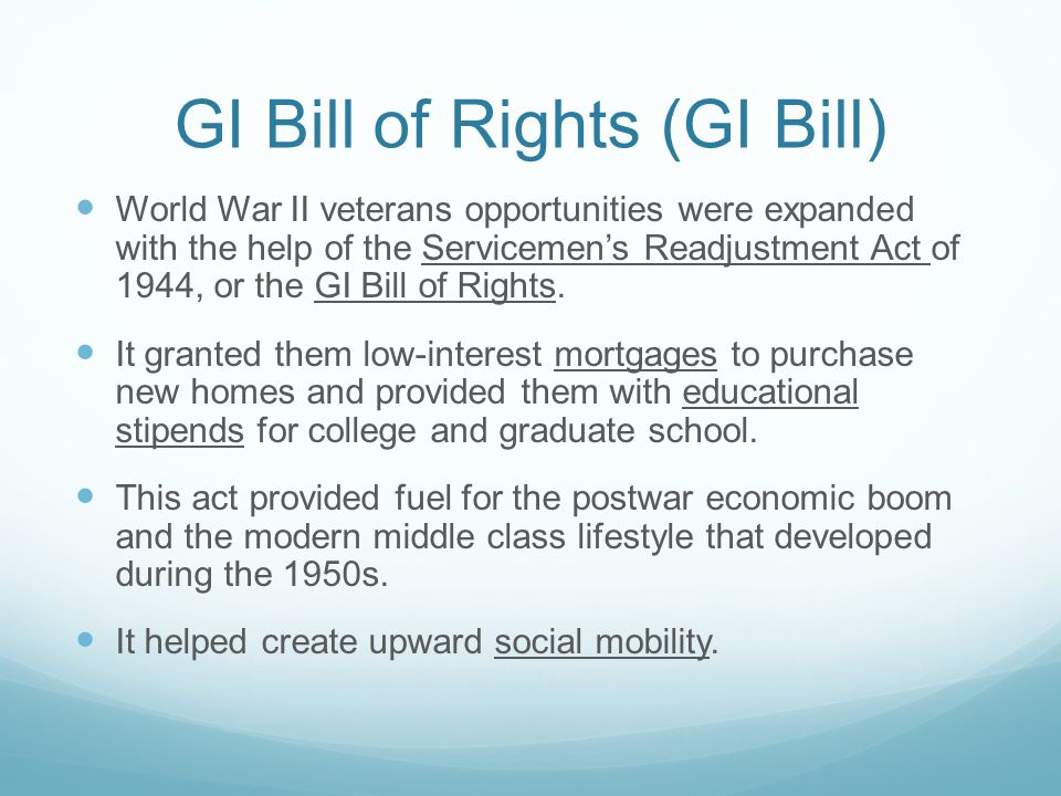 GI Bill of Rights (GI Bill)