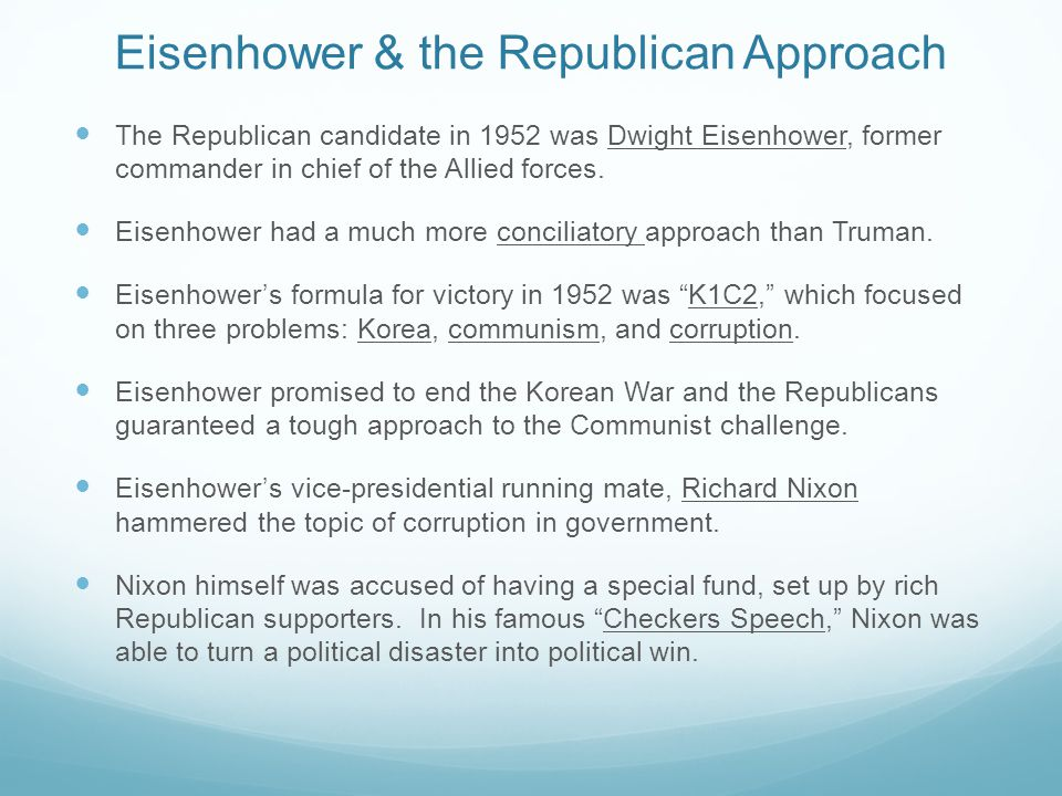 Eisenhower & the Republican Approach