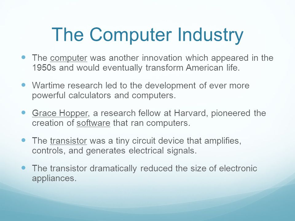 The Computer Industry The computer was another innovation which appeared in the 1950s and would eventually transform American life.