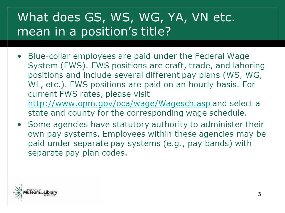 What does GS, WS, WG, YA, VN etc. mean in a position's title