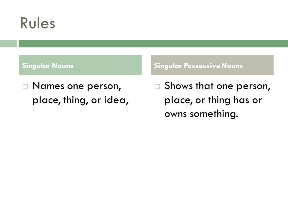 Rules Names one person, place, thing, or idea,