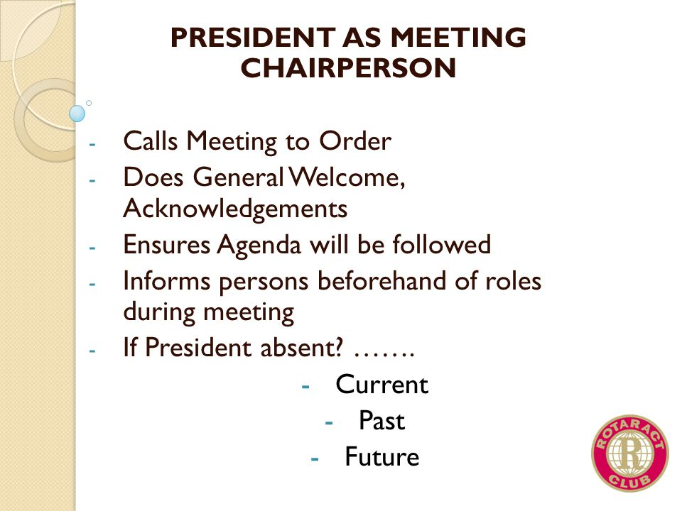 PRESIDENT AS MEETING CHAIRPERSON