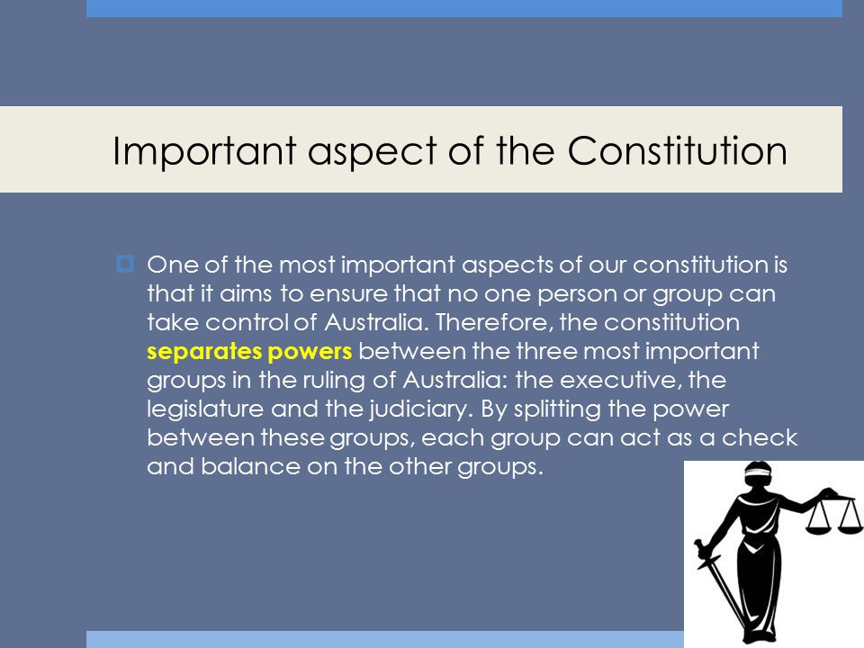 Important aspect of the Constitution