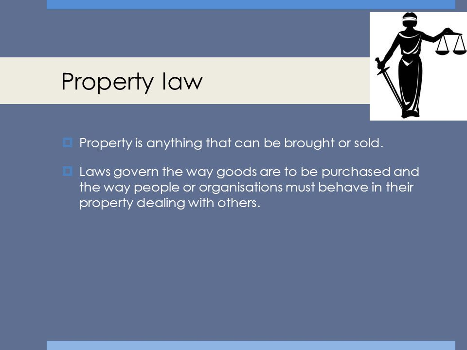 Property law Property is anything that can be brought or sold.