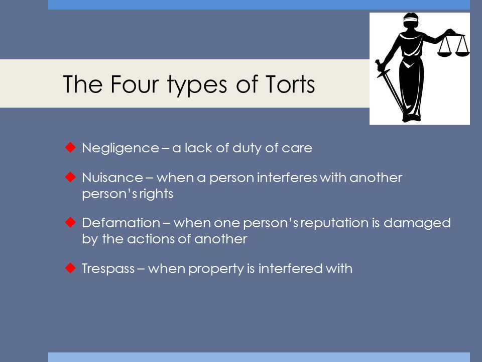 The Four types of Torts Negligence – a lack of duty of care