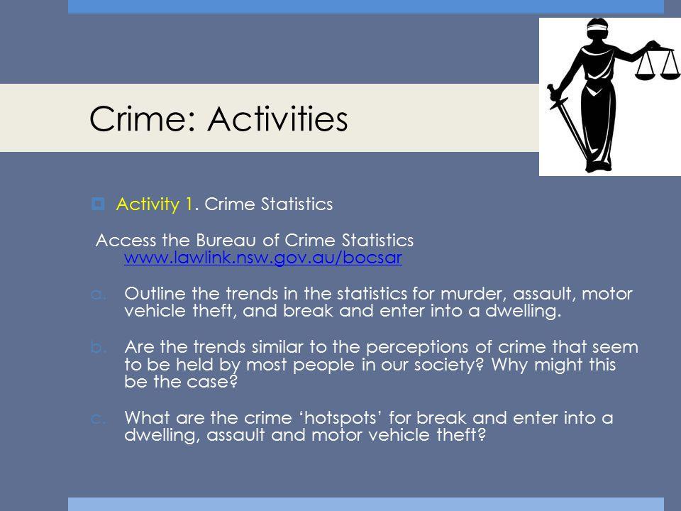 Crime: Activities Activity 1. Crime Statistics