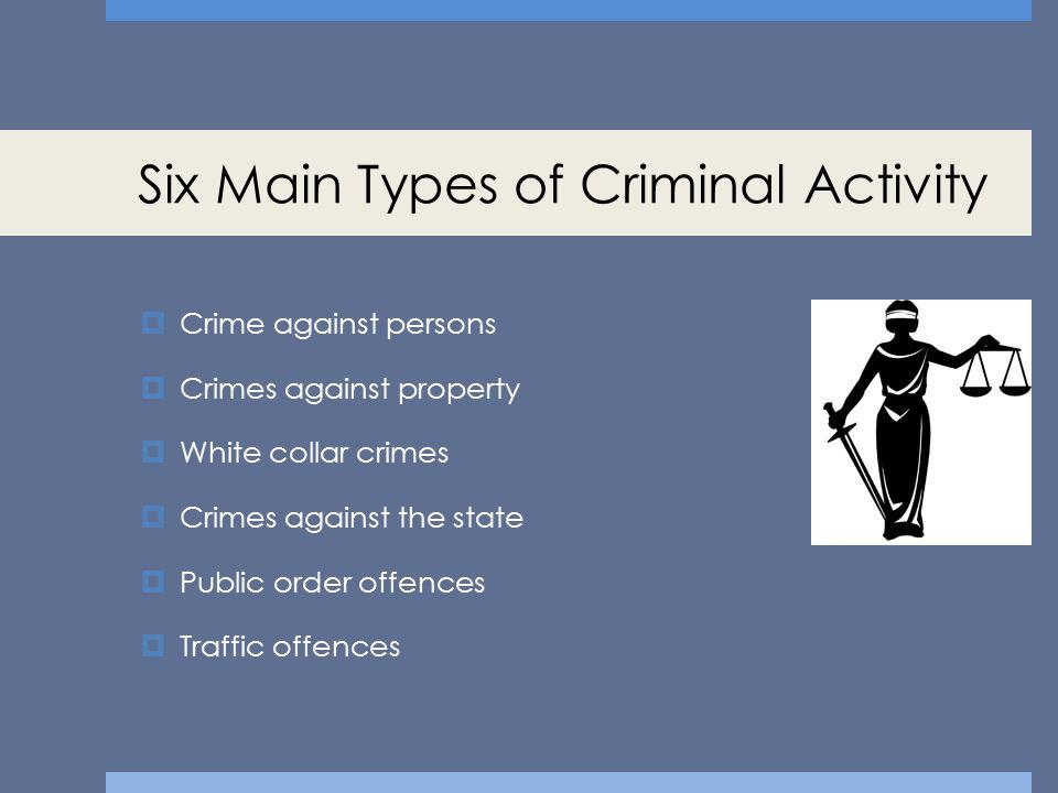 Six Main Types of Criminal Activity
