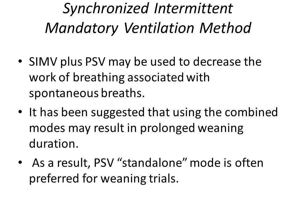 Synchronized Intermittent Mandatory Ventilation Method
