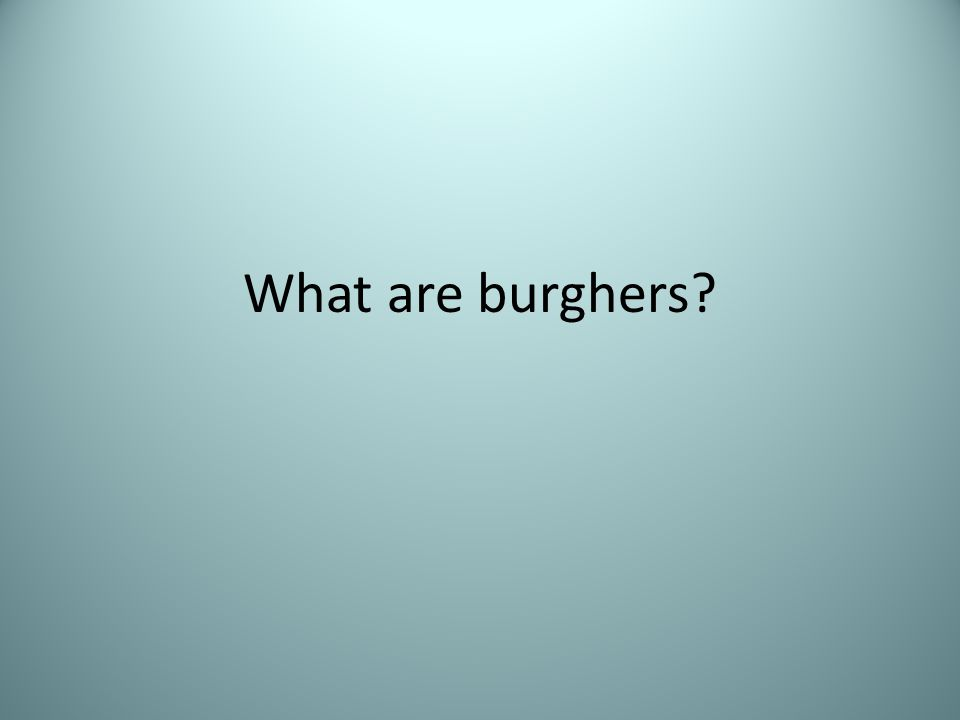 What are burghers