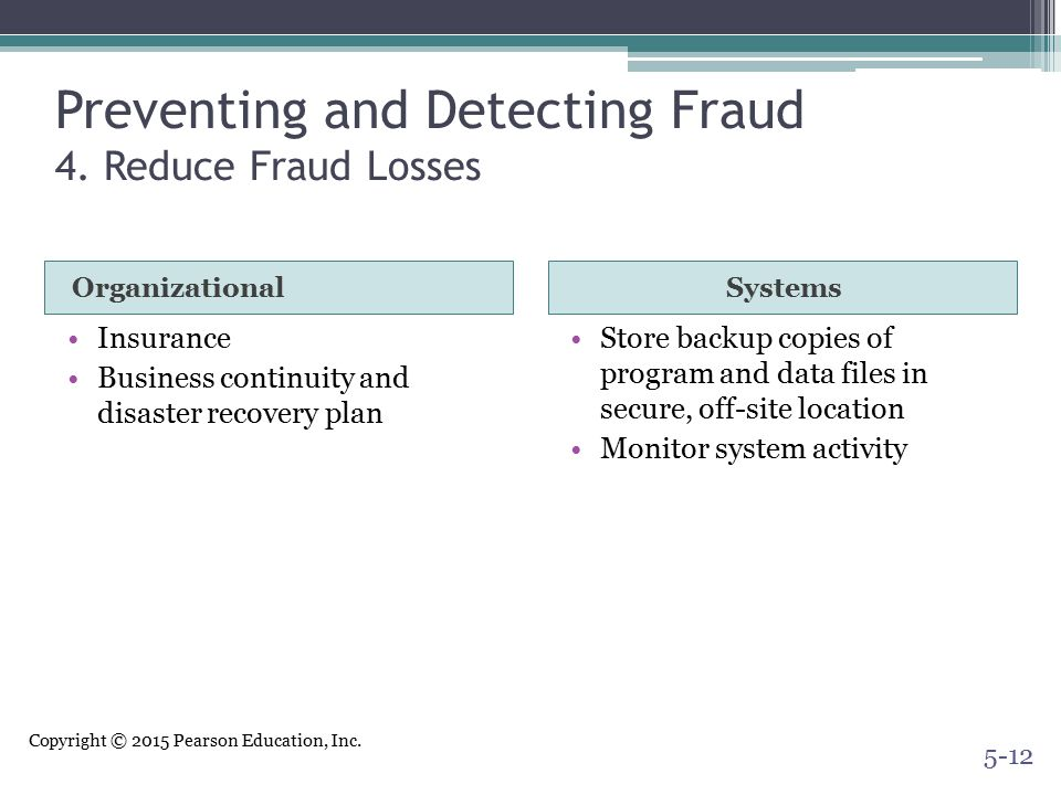 Preventing and Detecting Fraud 4. Reduce Fraud Losses