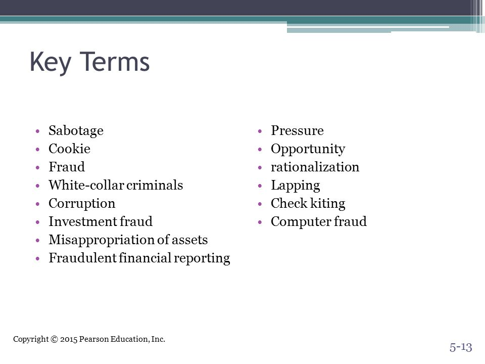 Key Terms Sabotage Cookie Fraud White-collar criminals Corruption