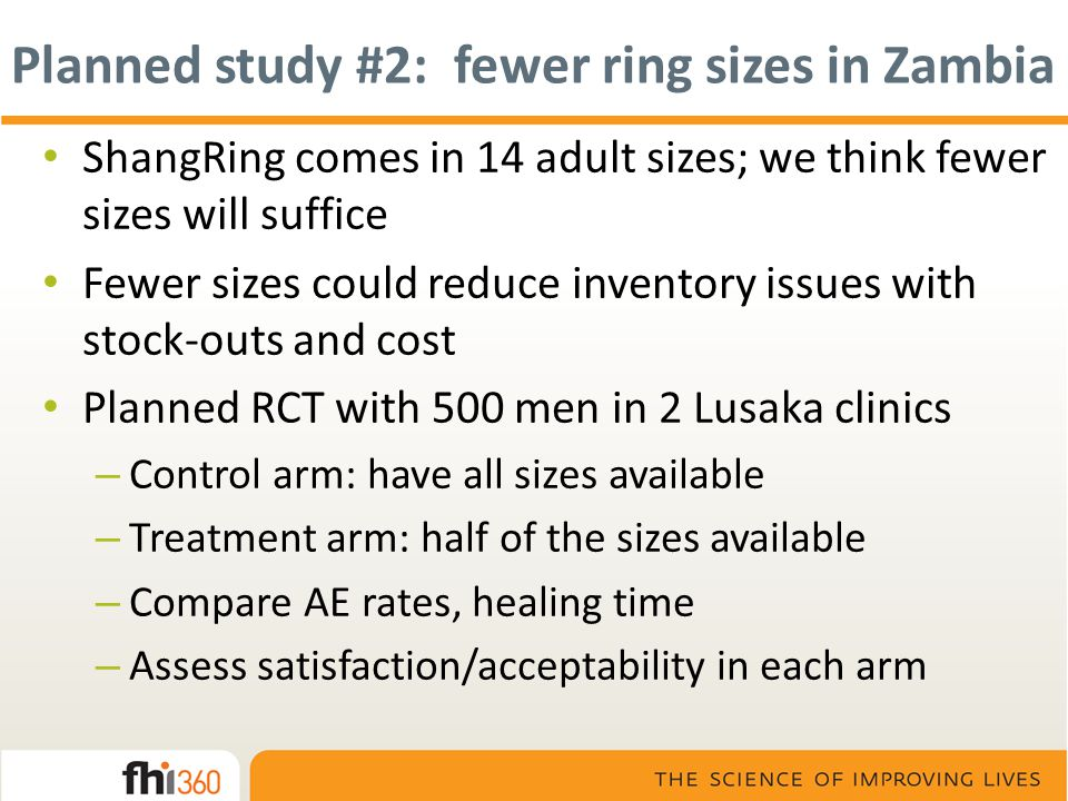 Planned study #2: fewer ring sizes in Zambia