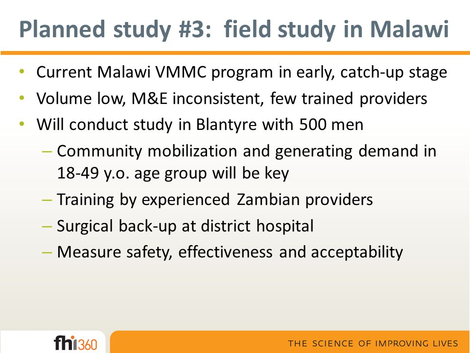 Planned study #3: field study in Malawi