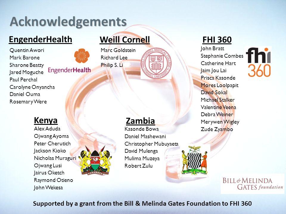 Acknowledgements EngenderHealth Weill Cornell FHI 360 Kenya Zambia