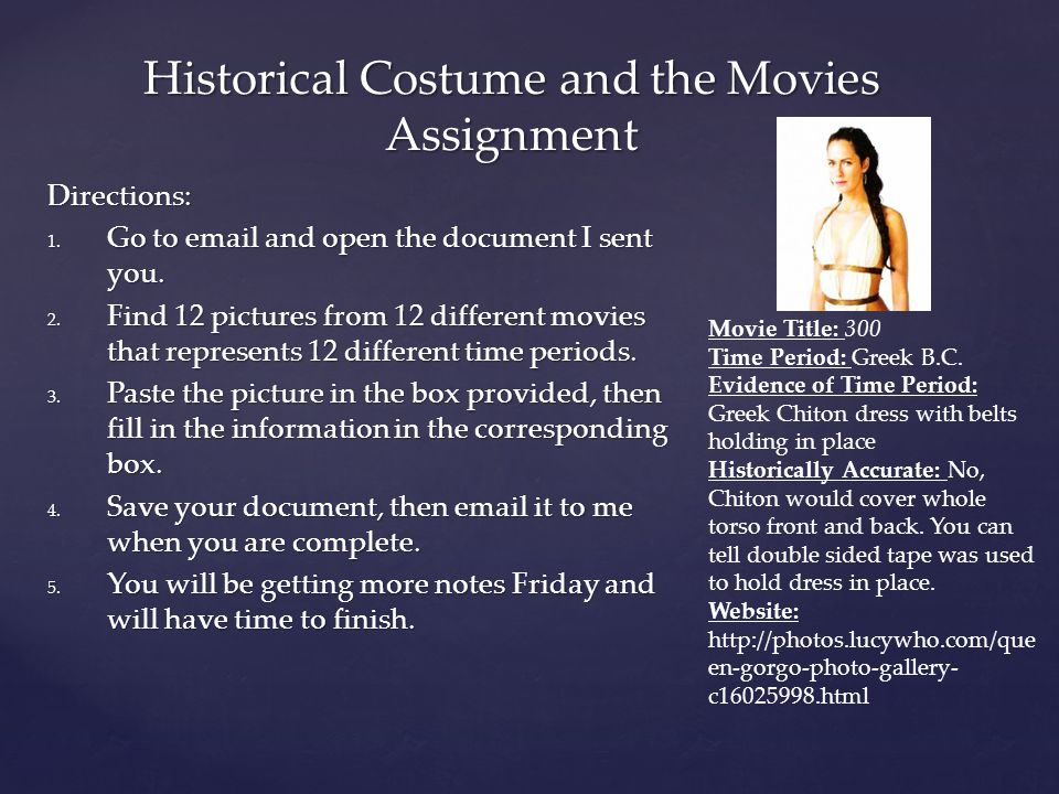 Historical Costume and the Movies Assignment