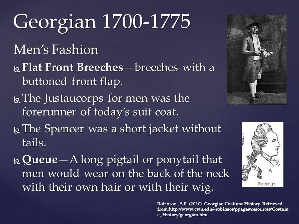Georgian 1700-1775 Men's Fashion