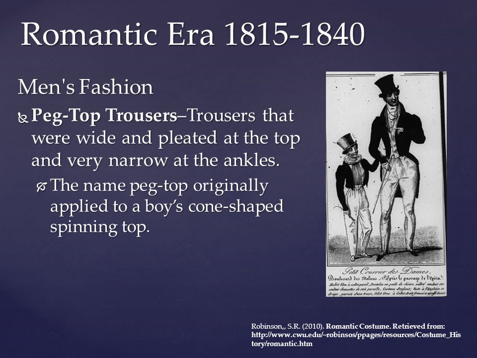 Romantic Era 1815-1840 Men s Fashion