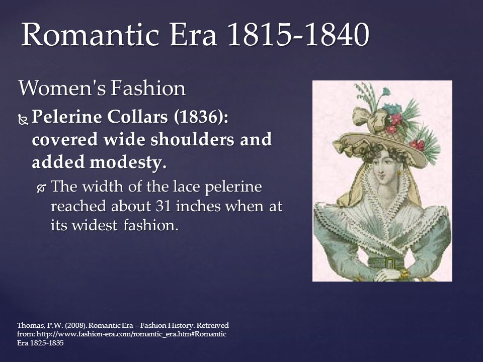 Romantic Era 1815-1840 Women s Fashion