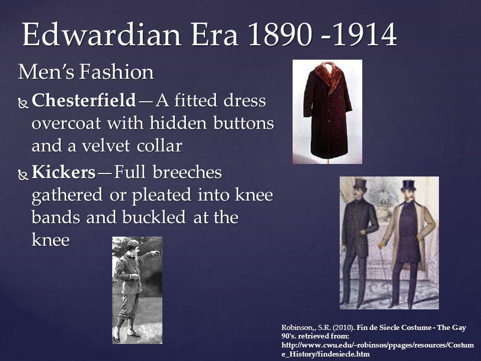 Edwardian Era 1890 -1914 Men's Fashion