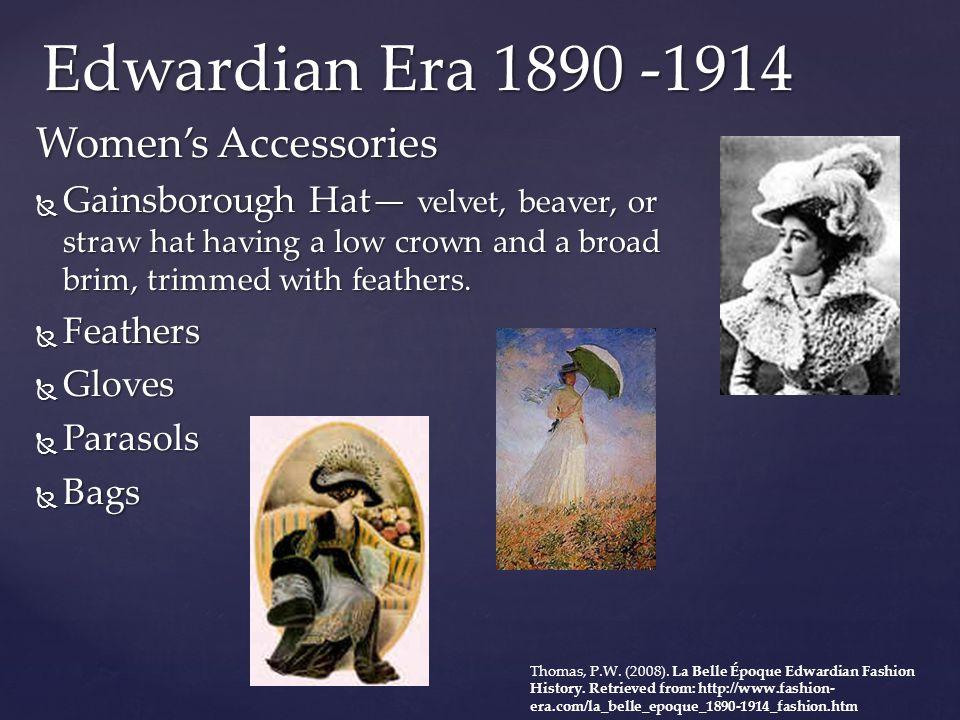 Edwardian Era 1890 -1914 Women's Accessories