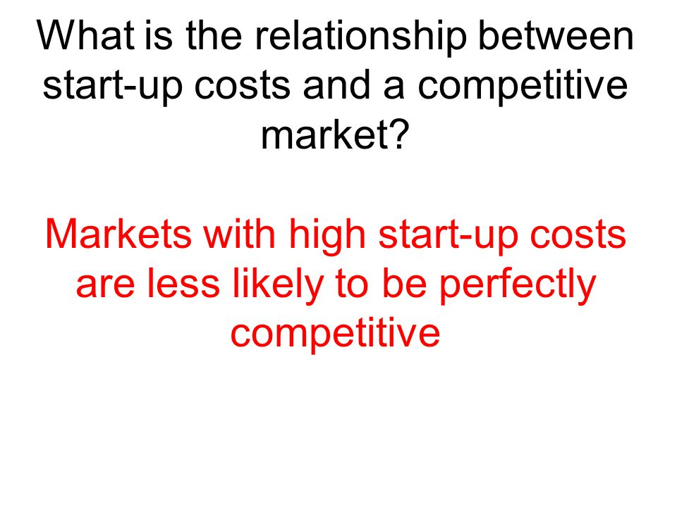 What is the relationship between start-up costs and a competitive market