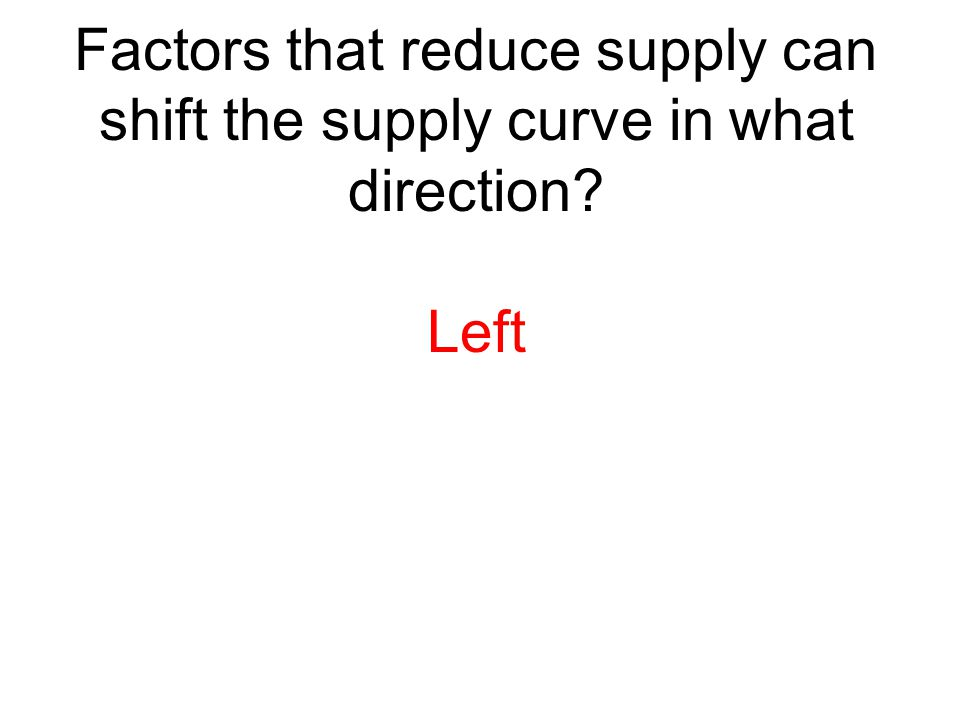 Factors that reduce supply can shift the supply curve in what direction