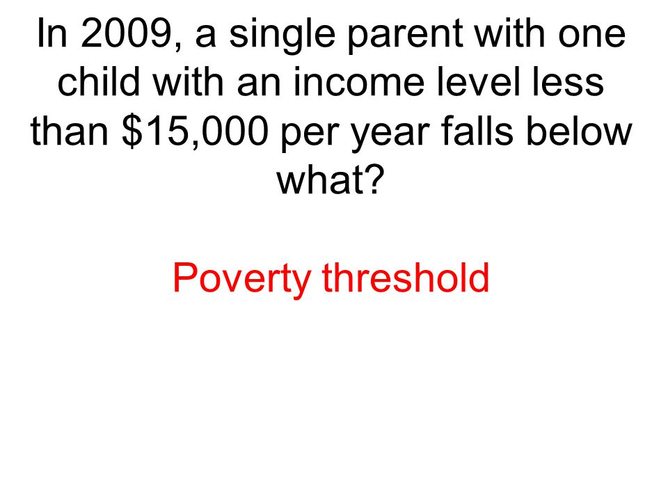 In 2009, a single parent with one child with an income level less than $15,000 per year falls below what