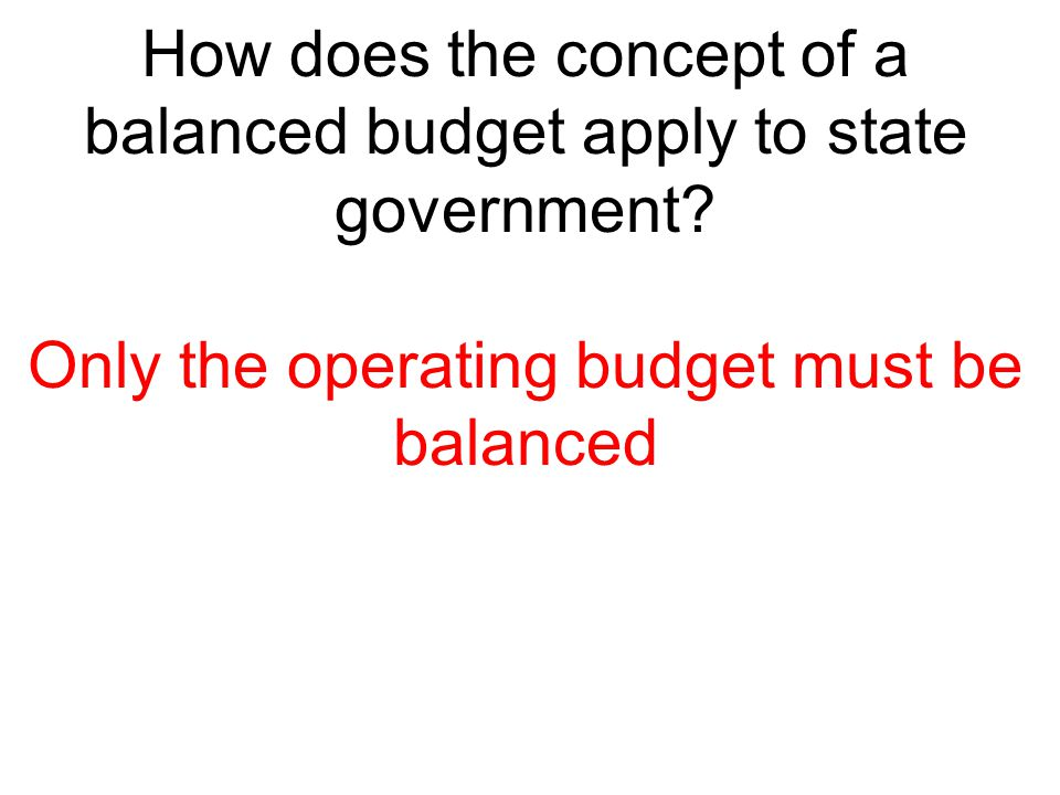 How does the concept of a balanced budget apply to state government
