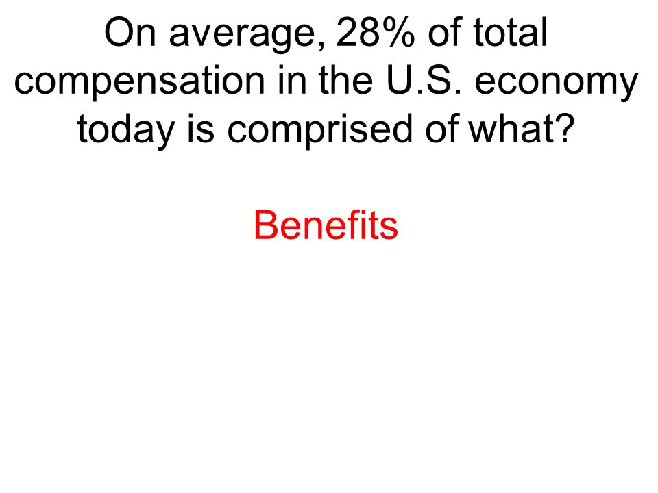 On average, 28% of total compensation in the U. S