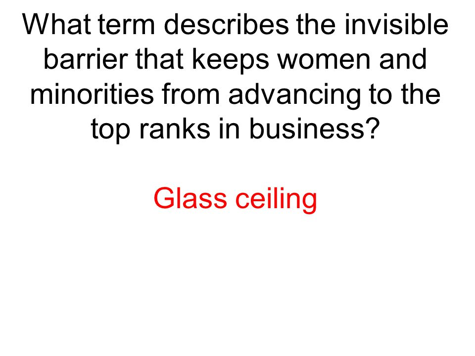 What term describes the invisible barrier that keeps women and minorities from advancing to the top ranks in business
