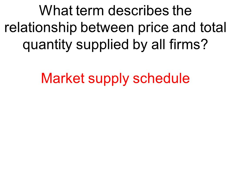 Market supply schedule