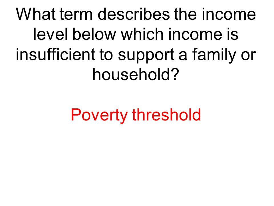 What term describes the income level below which income is insufficient to support a family or household