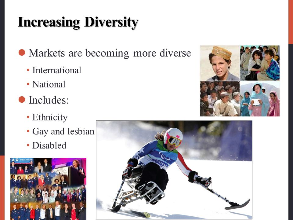 Increasing Diversity Markets are becoming more diverse Includes: