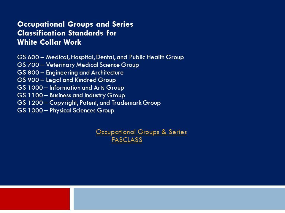Occupational Groups & Series